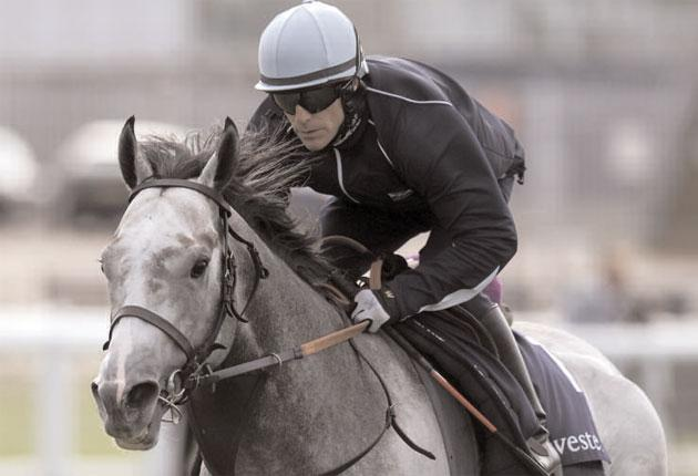Kieren Fallon rides Native Khan during the 'Breakfast With The Stars' morning at Epsom last week