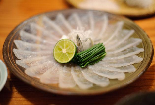 A fugu sashimi dish. The fish contains deadly toxins which must be expertly removed before serving