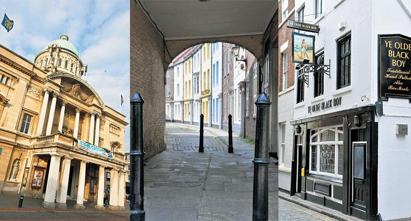 Historic Hull (from left): City Hall; the Old Town; Ye Olde Black Boy pub