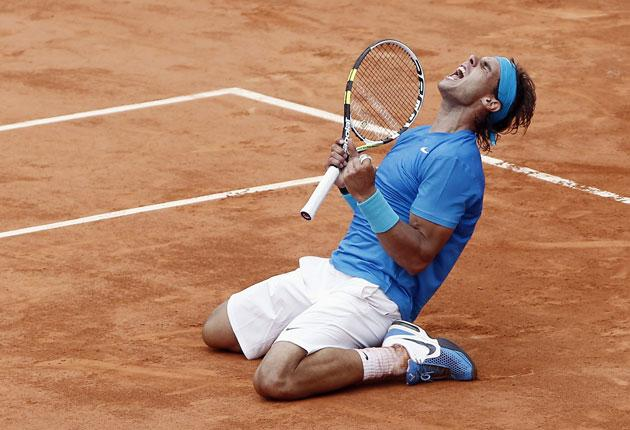 Rafael Nadal savours yesterday's moment of victory over Andy Murray