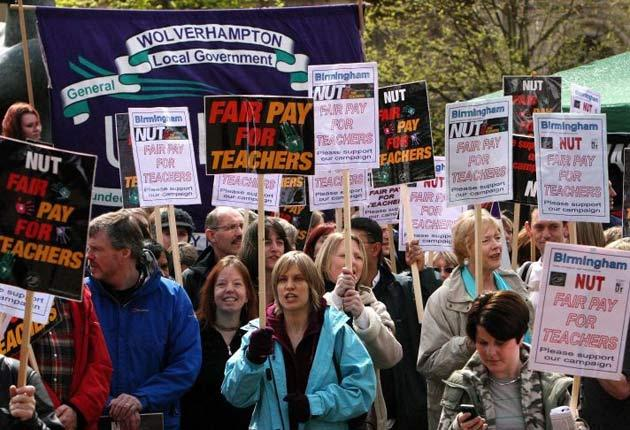 Teachers on the march over pay in 2008. But concerns about pensions and spending cuts mean action this year could be much more far-reaching