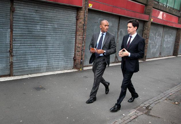 Ed Miliband after visiting a community centre in Brixton, south London, with Labour MP Chuka Umunna yesterday