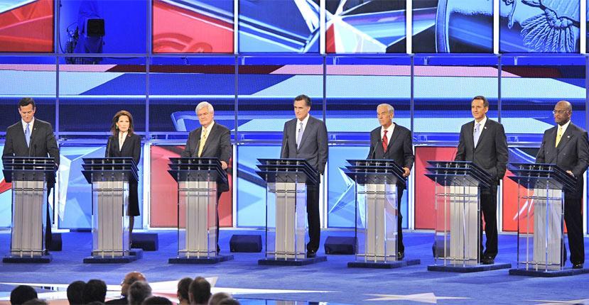 The Contenders: (from left to right) Rick Santorum, Michele Bachmann, Newt Gingrich, Mitt Romney, Ron Paul, Tim Pawlenty, Herman Cain