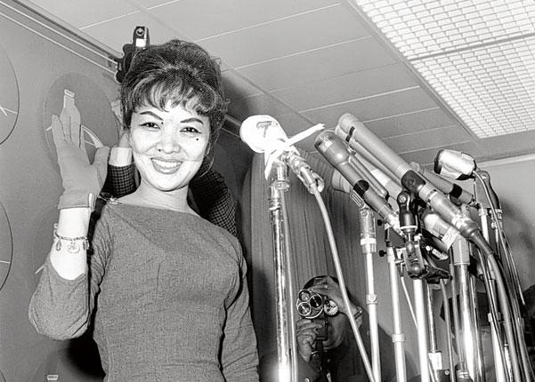 Madame Nhu during a press conference at the start of her controversial 1963 US lecture tour