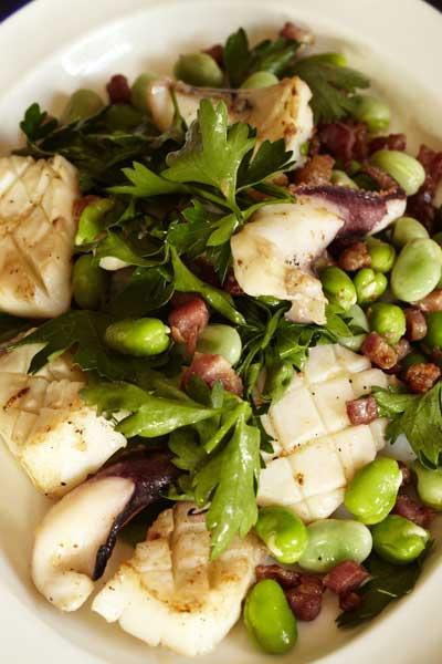 Barbecued cuttlefish with broad beans, bacon and flat-leaved parsley