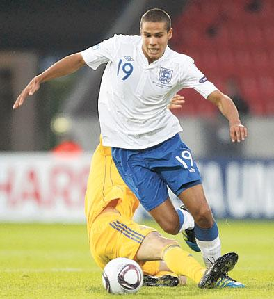 England's Jack Rodwell gets the better of his man in Herning last night