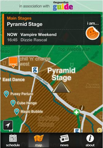 The official iPhone app for the 2011 Glastonbury music festival.