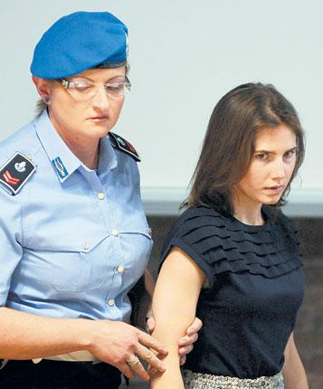 Amanda Knox arriving in court for her appeal in Perugia yesterday