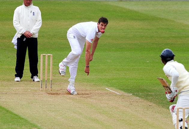 Middlesex's England paceman Steven Finn took two wickets as Kent were routed for just 87 at Lord's