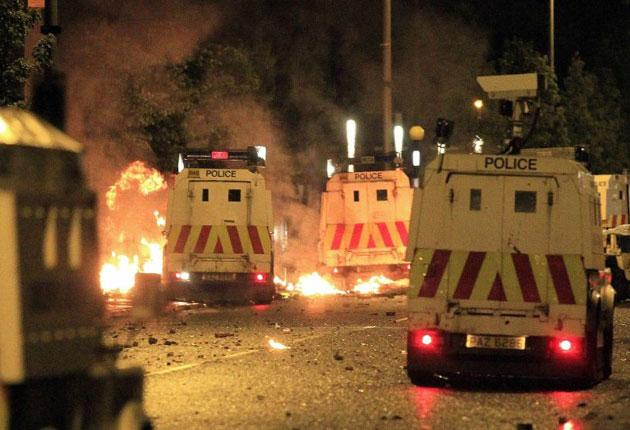 Rioters use fire bombs on Northern Ireland police officers in East Belfast earlier today