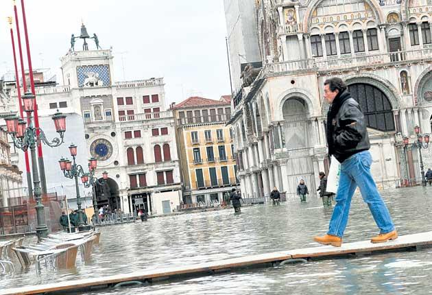 In deep water: St Mark's Square during floods which left more than half of the city submerged