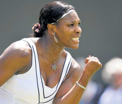 Serena Williams celebrates her victory over Simona Halep yesterday