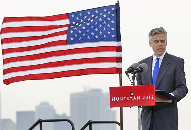 Jon Huntsman announcing his candidacy for the Republican presidential campaign in Jersey City