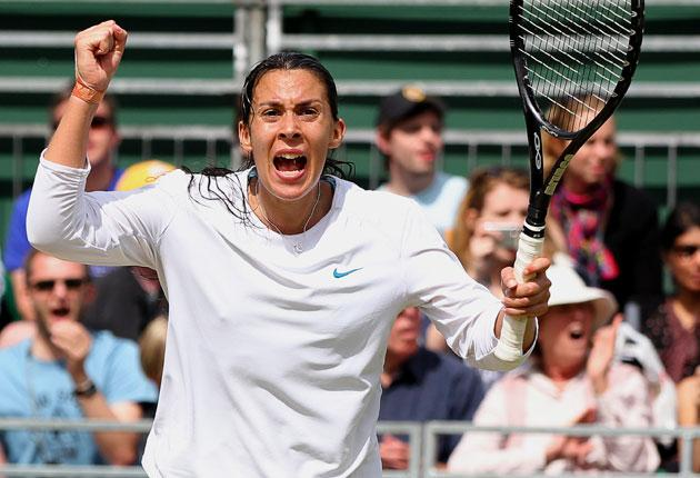 Marion Bartoli loses her cool during Saturday's match EPA
