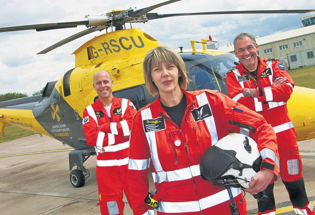 Ready to fly: (left to right) Paramedic Keith Rutherfood, A&E consultant Pam Hardy and pilot Mac McDaniels