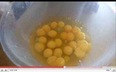A British woman cracked open 29 double-yolked eggs in a row, and captured the last half on video.