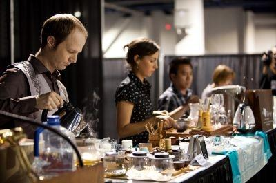 Steven Downer, front, was crowned the Tea Infusionist Champion at the World Tea Expo last week in Las Vegas.