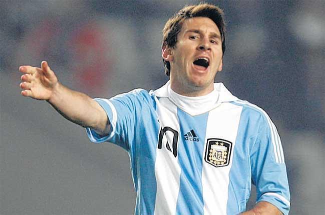 Blame game: Lionel Messi tries to motivate his Argentina team-mates