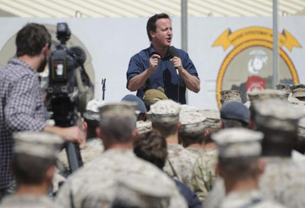 David Cameron addresses troops at Camp Bastion in Helmand yesterday