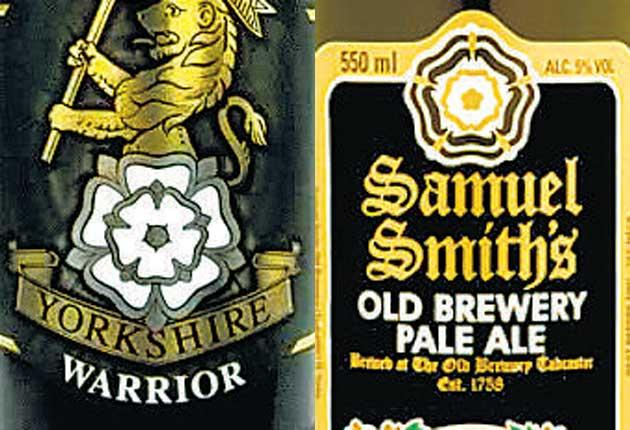The labels for Cropton's Yorkshire Warrior and Samuel Smith's Pale Ale both feature prominent rose designs