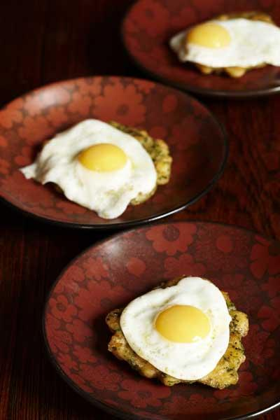 Brown shrimp patties with fried quails' eggs