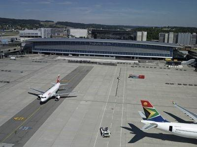 Aircraft on the ground at Zurich Airport, recently judged one of Europe's best