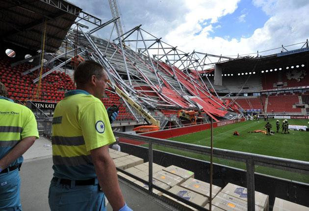 One construction worker was killed when the stadium roof collapsed