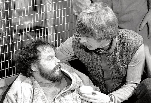 Skelton, left, in an onscreen role as a duplicitous miner in the 1971 'Dr Who' episode 'Colony in Space'