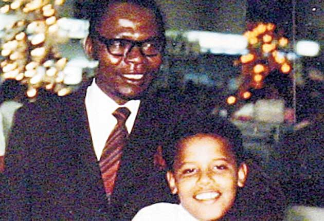 President Obama at the age of 10 with his Kenyan father, also Barack
