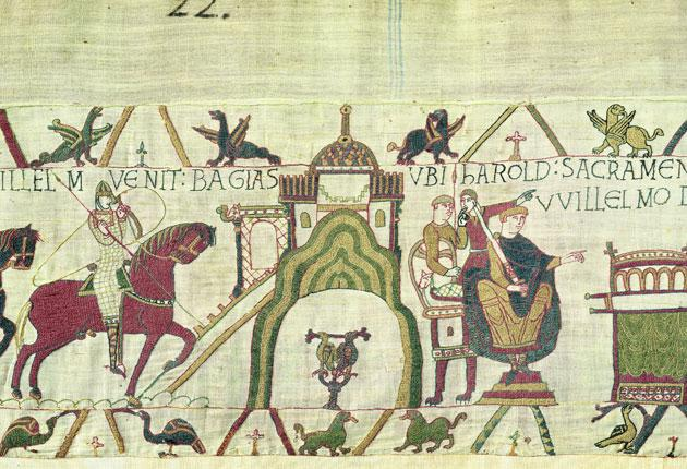 Take a peek at the Bayeux Tapestry (tapisseriebayeux.fr), marking the Norman conquest of England