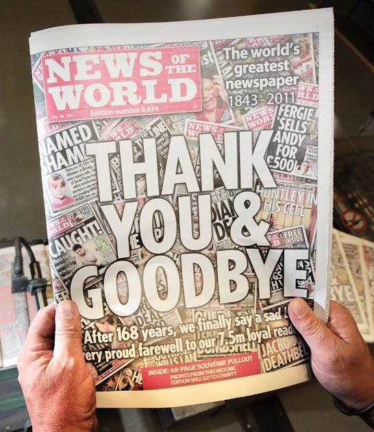 The last edition of the News of the World