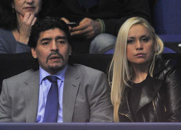 Maradona's girlfriend, Veronica Ojeda (right), was also in the car