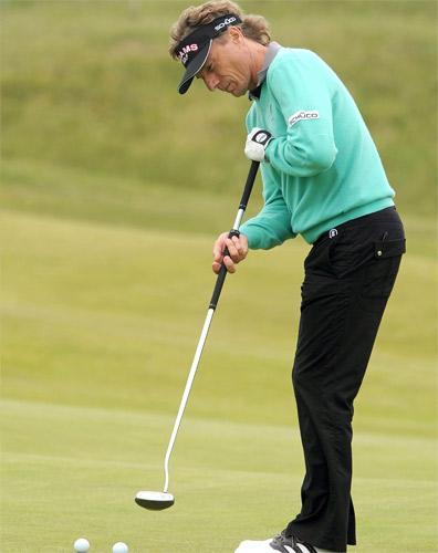 Bernhard Langer fine-tunes his familiar putting motion at Royal St George's yesterday