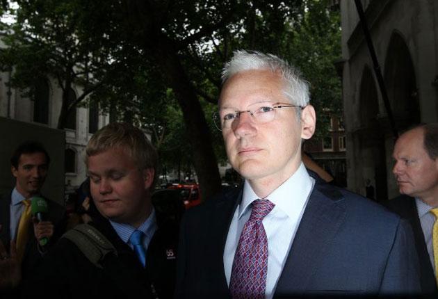 Julian Assange arrives at the High Court today