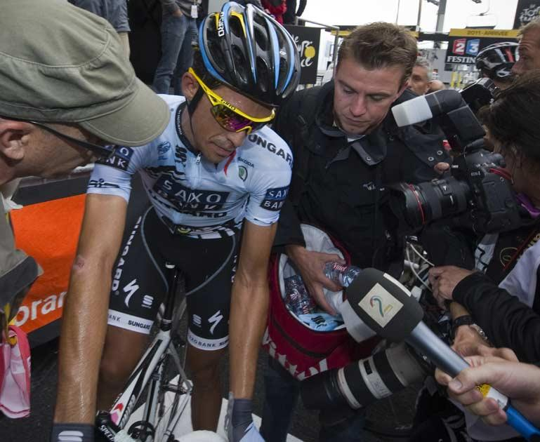Defending champion Contador lost time to his rivals
