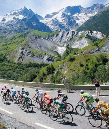The Pyrenees provide a stunning backdrop as the peloton take part in the first mountain stage