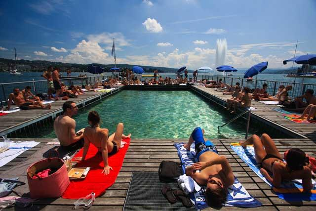 Water therapy: Sunbathing at the Seebad Enge