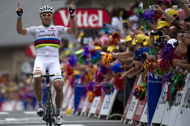 Thor Hushovd won by a distance in the latest stage of the Tour