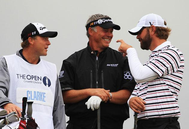 Clarke (centre) could be on the verge of winning his first major
