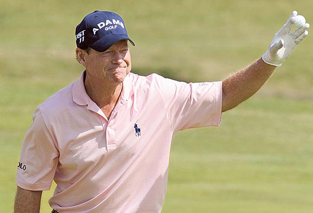 Tom Watson celebrates his hole in one during the Open