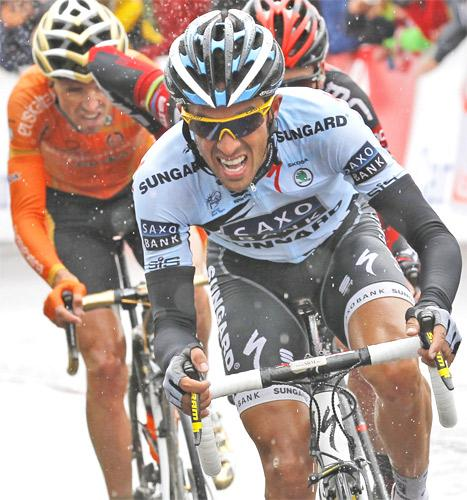 Three-time Tour de France winner Alberto Contador breaks away from the pack on the Col de Manse yesterday