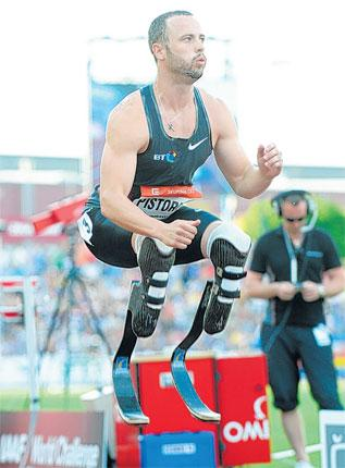 On the up: The South African runner Oscar Pistorius has achieved the qualifying time for a place at the World Championships and the Olympic Games