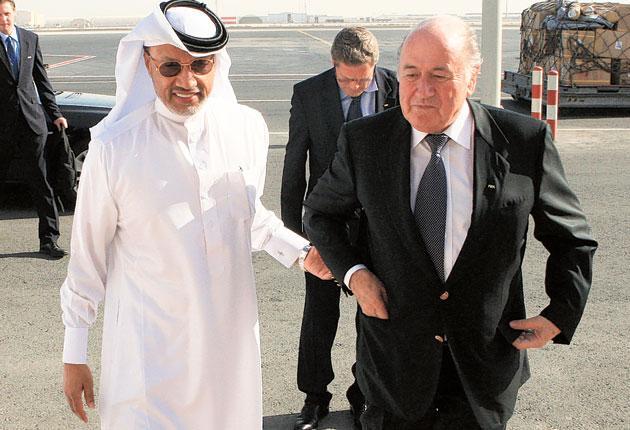 Mohamed bin Hammam (left) and Sepp Blatter are now best of enemies