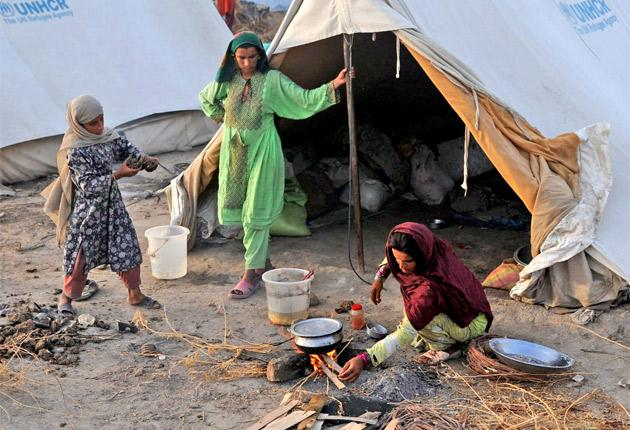 A refugee family in the northern Sindh province this month