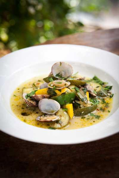 Clams with yellow and green courgettes, chilli and fino sherry