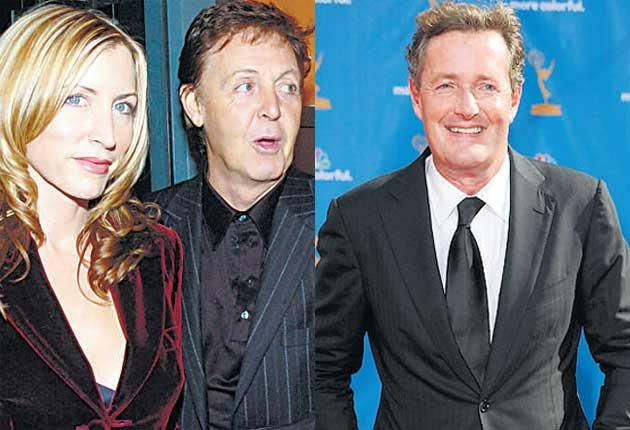Piers Morgan, right, wrote of having heard a touching voicemail left for Heather Mills by Paul McCartney