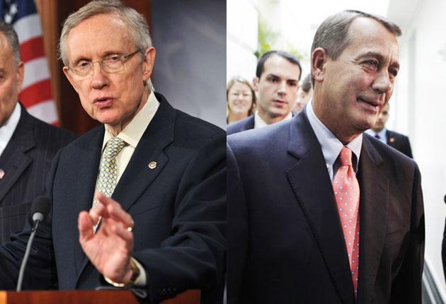 Speaker John Boehner's (right) proposal was voted down in the Senate, where Democrat leader Harry Reid (left) is preparing his own plan