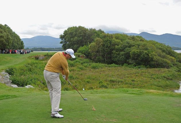 David Howell tees off at the fourth hole at Killarney on his way to a seven under-par 64