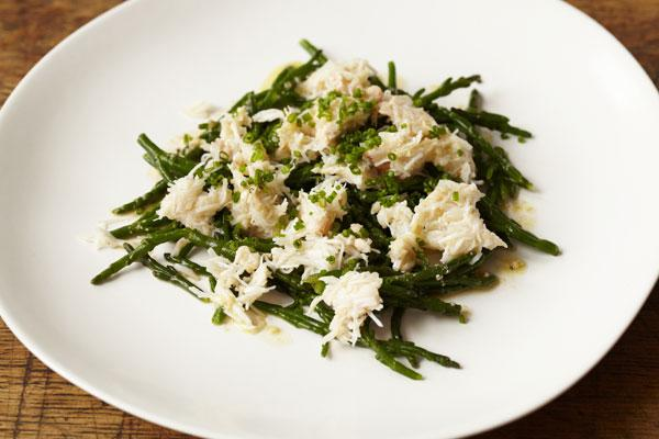Crab and samphire is a tasty and simple two-ingredient dish that can be served in no time and really tastes of the sea