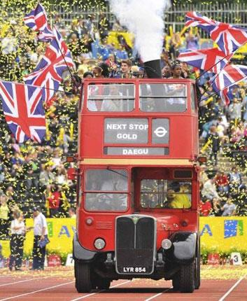 British athletes get on the bus at the end of Saturday's London Grand Prix